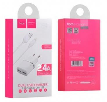 Сетевое зарядное устройство + кабель Micro USB HOCO C12 2USB 2.4A белый