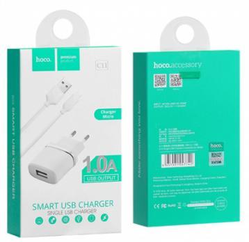 Сетевое зарядное устройство HOCO C11 1USB 1A + кабель Lighting белый
