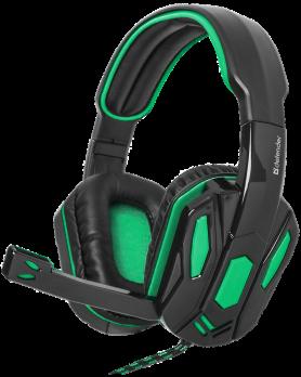 Игровая гарнитура Defender Warhead G-275 зеленый + черный, кабель 1,8 м