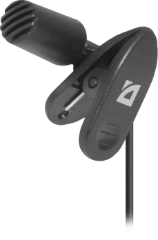 Микрофон компьютерный Defender MIC-109 черный, на прищепке, 1,8 м