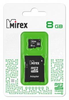 Карта памяти microSDHC с SD-адаптером (class10) 8Gb Mirex