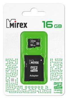 Карта памяти microSDHC с SD-адаптером (class10) 16Gb Mirex